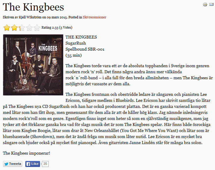 KingBees Recension Jefferson Blues Magazine av Kjell Wikström